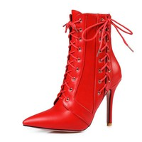 Lace Up Pointed Toe Stiletto High Heels Short Boots