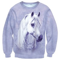 Realistic White Horse Pony All Over Print Unisex Pullover Sweater | Animal Themed Apparel