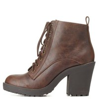 Brown Chunky Heel Lug Sole Combat Booties by Charlotte Russe