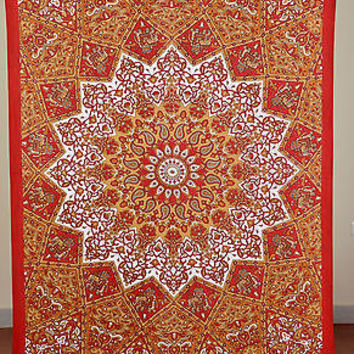 Mandala Red Color Tapestry Indian Wall Hanging Cotton Tapestry Decor SBS03RD