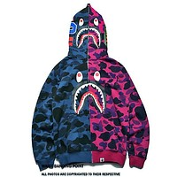 BAPE AAPE Autumn Winter Trending Stylish Shark Mouth Blue/Purple Camouflage Print Zipper Hooded Sweater Thin Jacket Coat