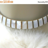 SALE Brass n Mother of Pearl Choker Necklace Vintage