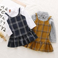 Hot Sale 2017 Autumn Style Baby Girl Classic Plaid Strap Dress Girl Kids Sleeveless Dress Clothing for Toddler Girls Clothing
