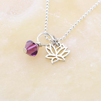 Amethyst Crystal and Lotus Necklace, February Birthstone Crystal, Yoga Jewelry, Sterling Silver Charm and Chain, Dainty Necklace