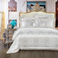 Cool King Queen size White Red Luxury Wedding Bedding Set Jacquard Cotton Bed set Duvet Cover Bed/Flat Sheet set Bedlinen PillowcaseAT_93_12