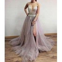 Pink Straps V Neck Prom Dresses Rhinestone Tulle Backless Evening Dress