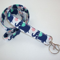 Fabric Lanyard / ID Holder with key ring - blue elephants teal white - lobster claw clasp and key ring