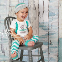 BOYS FIRST BIRTHDAY Outfit-Boys Birthday bodysuit with Gray Chevron 1, aqua suspenders with aqua and white chevron crawlers and Beanie