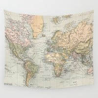 Vintage Map of The World (1892) Wall Tapestry by BravuraMedia