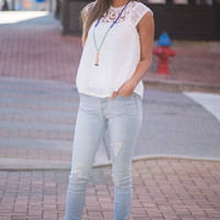 Lost In Thought Top, White