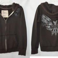 American Eagle Mens XSmall Youth Boys Hooded Zip Front Jacket Vintage Fit
