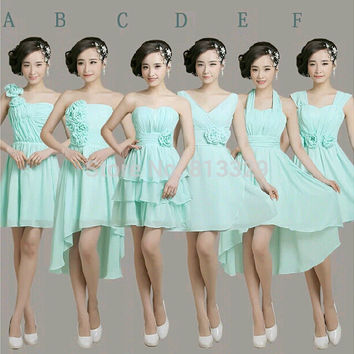 2016 New  Blue Chiffon Short Bridesmaid Dress with flower style A-F Bridesmaid Gown