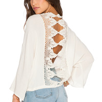 Bishop + Young Lace Back Long Sleeve Blouse in Ivory