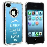 Apple iPhone 4 4S 4G Light Blue S534 Rhinestone Crystal Bling Aluminum Plated Hard Case Cover Keep Calm and Swim On