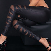 Slim Gauze Cross Binding PU See-through 9/10 Slim Leggings