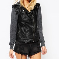 Abercrombie & Fitch Leather-Look Hooded Biker Jacket With Fleece Sleeve