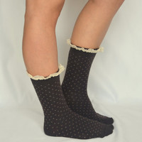 Polka dot lace boot socks so soft cozy boot socks boot cuffs valentines day gifts birthday gifts