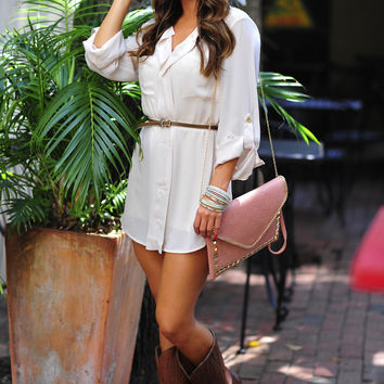 Belted In Envy Tunic: Ivory     Hope's