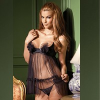 SEXY SHEER BABYDOLL & THONG - BE WICKED LINGERIE 2PC SET (BW1370)