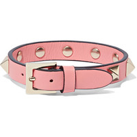 Valentino - The Rockstud leather and gold-tone bracelet