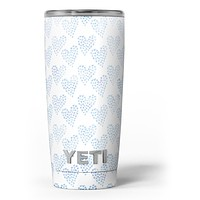 Blue Watercolor Hearts Pattern - Skin Decal Vinyl Wrap Kit compatible with the Yeti Rambler Cooler Tumbler Cups