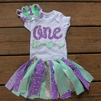 1st birthday outfit girl - first birthday outfit - mermaid birthday outfit - purple and turquoise tutu - birthday tutu - 1st birthday shirt