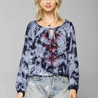 Mono B Embroidered Tie-Dye Blouse - Urban Outfitters