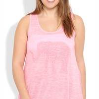 Plus Size Neon Tank Top with Sharkbite Hem and Crochet Elephant Screen