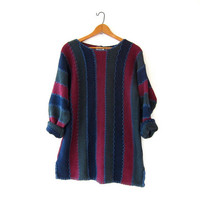 vintage color block sweater. slouchy long sweater. loose knit sweater.