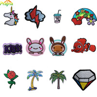 Hot Sale Custom Rainbow Unicorn Patch Cute Iron On Cheap Embroidered Cartoon Patches For Kids Clothes Stickers