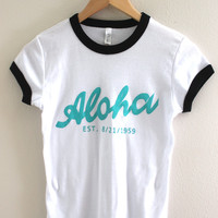 Aloha White Graphic Ringer Tee