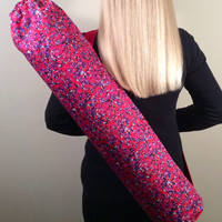 Handmade Yoga Mat Bag, Tote, Mat Carrier - Multi Color Pink, Red, Purple, Black, White, Round Base, with Shoulder Strap and Drawstring