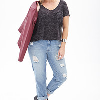FOREVER 21 PLUS High-Waisted Distressed Boyfriend Jeans Denim Washed