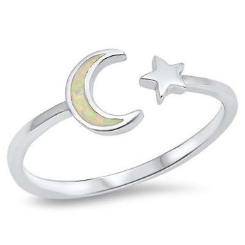Sterling Silver 925 CRESCENT MOON AND STAR LAB OPAL DESIGN RINGS 3MM SIZES 3-10