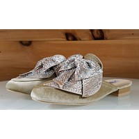CR Nude Velvet Flats Mules Clog Slipper Shoe Bow Detail With Rhinestones