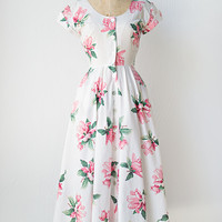 vintage 1950s style 80s white pink floral dress [Magnolia Blushing Dress] - $112.00 : ADORED | VINTAGE, Vintage Clothing Online Store