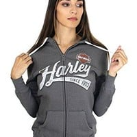 Harley-Davidson Womens Charcoal Thunder B&S Full Zip Grey Hoodie