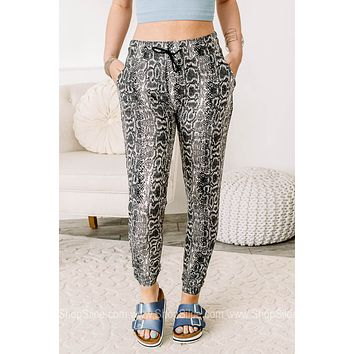Setting Goals Soft Brushed Snake Print Jogger Pants