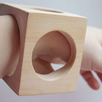 70 mm BIG Wooden square bangle unfinished with the holes on all sides- natural eco friendly