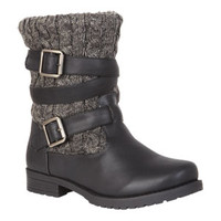 Carly Cable Knit Engineer Boot - Black