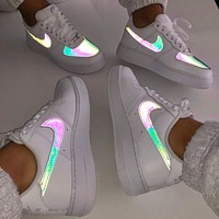 Nike Sneakers Sport Shoes AF1  Iridescent