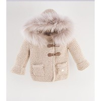 CASILDA Y JIMENA - Ivory Stone With Blush Fur Hooded Sweater Coat