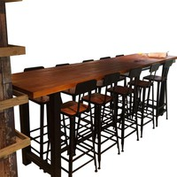 Bar Chair Modern Nordic Style Solid Wood Wrought Iron Simple Bar Table And Chair Combination Table Bar Table And Chairs
