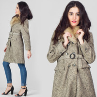 60s Grey Wool Peacoat / Faux Fur Collar Glen Plaid Midi Coat / Double Breasted Classic Mid Century Small S Coat