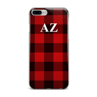 Red Buffalo Plaid Custom Monogram iPhone Case