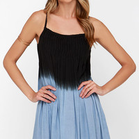 Made in the Shade Black and Blue Dip-Dye Dress