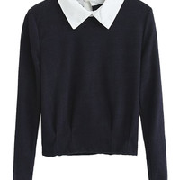 Contrast Shirt Collar Crop Top - Choies.com