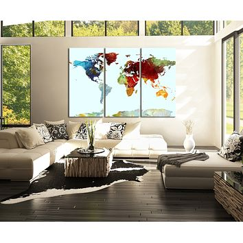 Special Colourful World Map Canvas Art World Map Canvas PrintContemporary 3 Panel Triptych