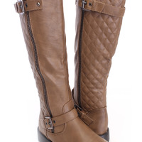 Cognac Quilted Riding Boots Faux Leather