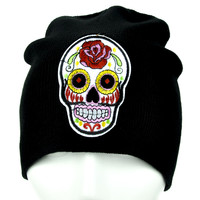 White Sugar Skull Beanie Day of the Dead Clothing Knit Cap
